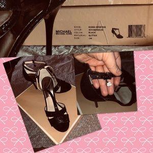 EUC Michael Kors Diana Heels with Black Sequins